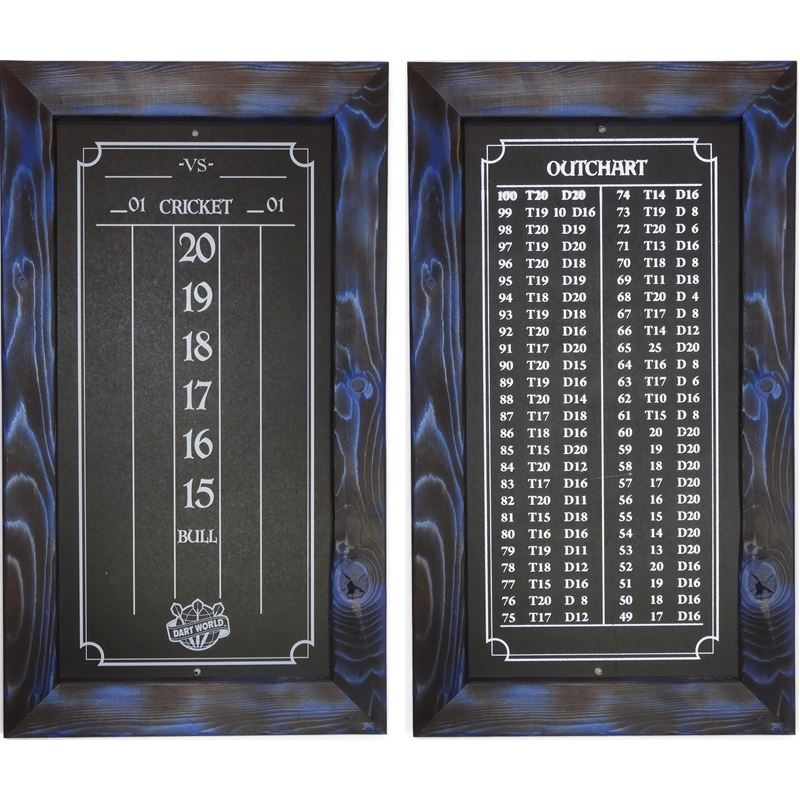 Double Bull Darts Scoreboard and Out Chart - Blue Burnt Stain