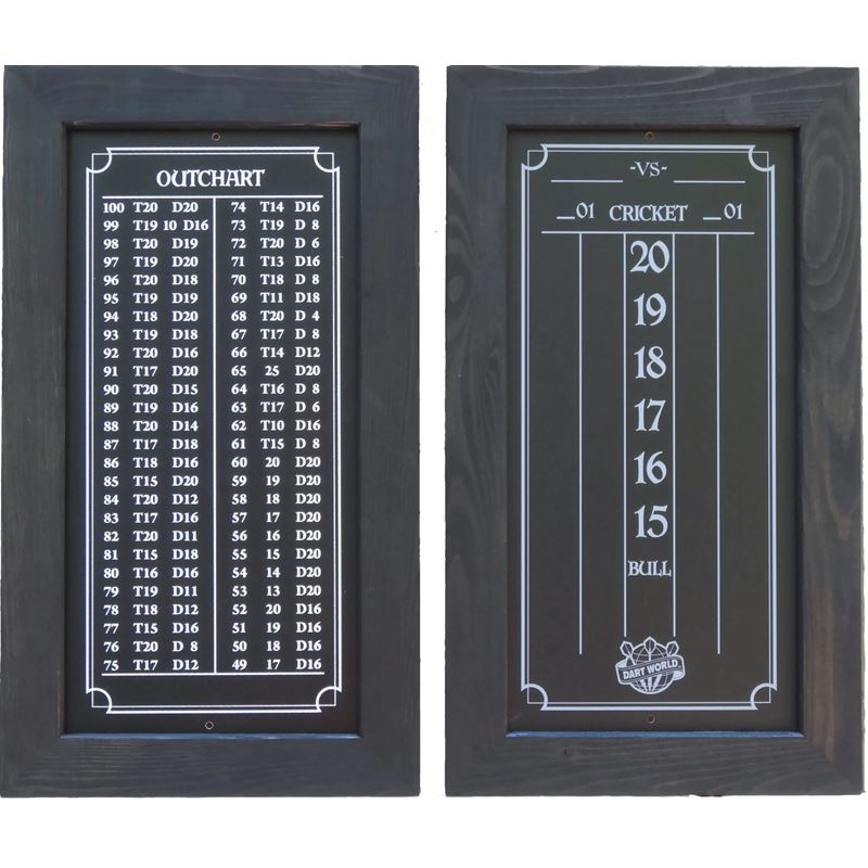 Double Bull Darts Scoreboard and Out Chart - Black Stain