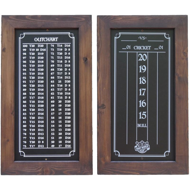 Double Bull Darts Scoreboard and Out Chart - Dark Brown Stain