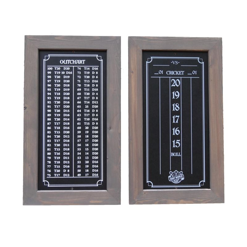 Double Bull Darts Scoreboard and Out Chart - Smoky Brown Stain