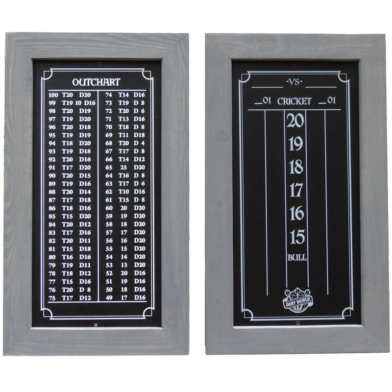 Double Bull Darts Scoreboard and Out Chart - Weather Gray Stain