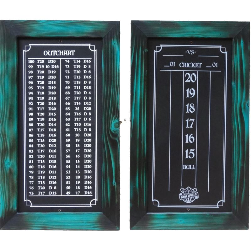 Double Bull Darts Scoreboard and Out Chart - Turquoise Burnt Stain