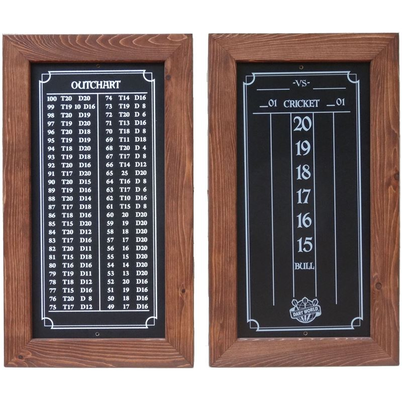 Double Bull Darts Scoreboard and Out Chart - English Chestnut Stain