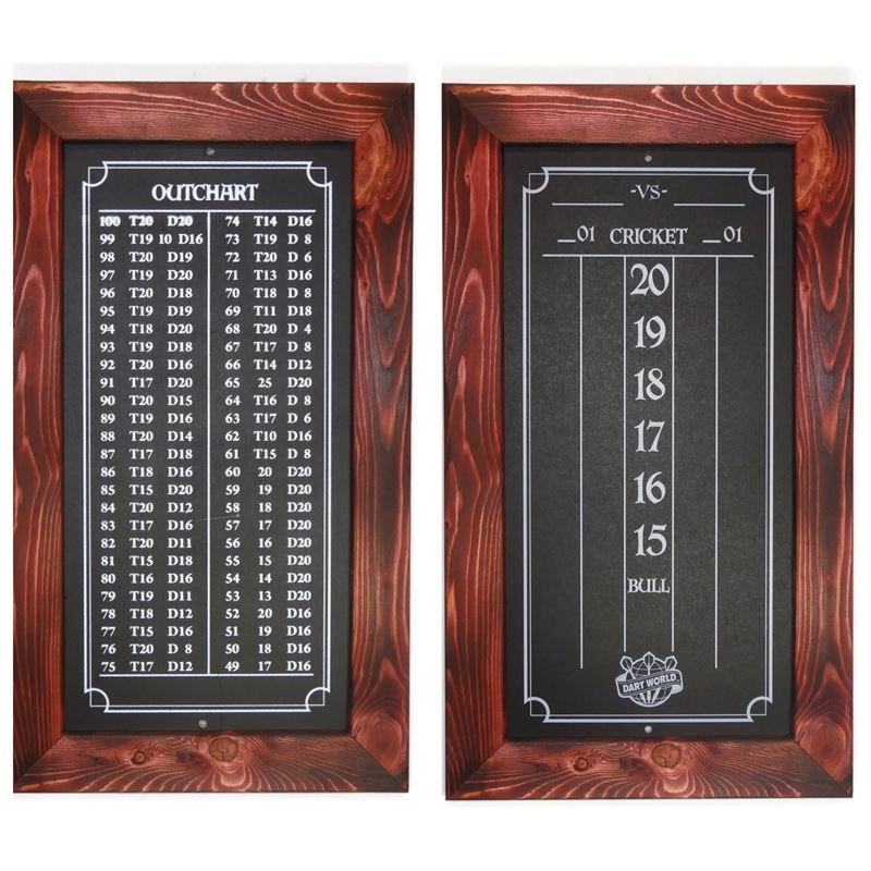 Double Bull Darts Scoreboard and Out Chart - Cabernet Wine Burnt Stain